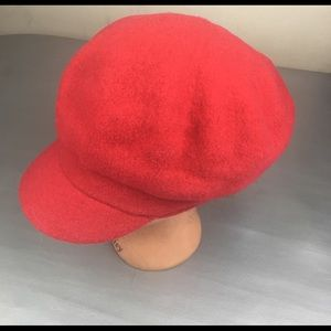 Kate Landry red wool news boy cap